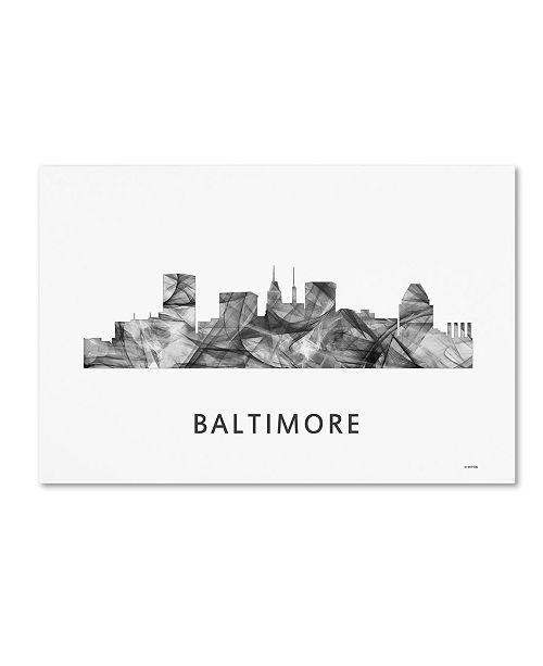 "Trademark Global Marlene Watson 'Baltimore Maryland Skyline WB-BW' Canvas Art - 22"" x 32"""