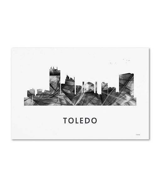 "Trademark Global Marlene Watson 'Toledo Skyline WB-BW' Canvas Art - 30"" x 47"""
