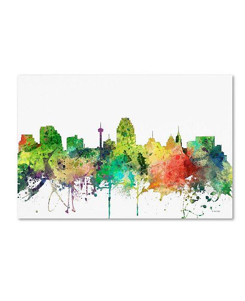 "Trademark Global Marlene Watson 'San Antonio Texas Skyline SP' Canvas Art - 22"" x 32"""