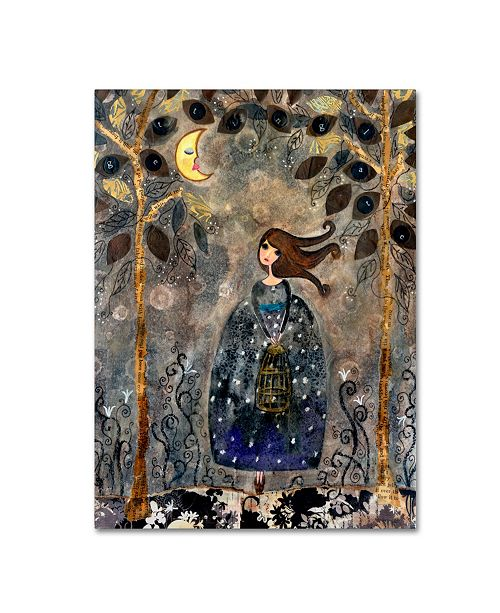 "Trademark Global Wyanne 'Big Eyed Girl It's Getting Late' Canvas Art - 24"" x 32"""
