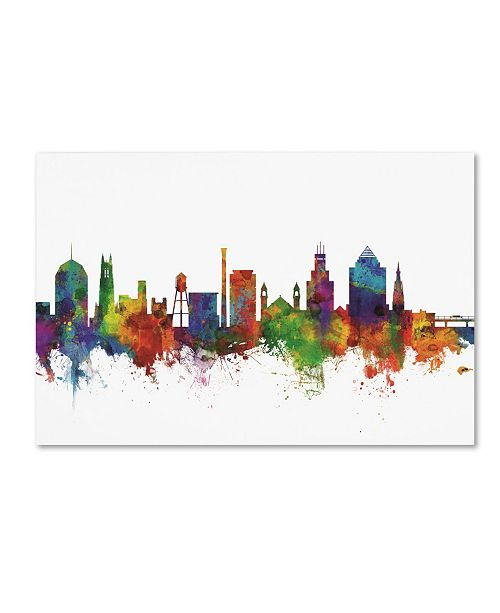 "Trademark Global Michael Tompsett 'Durham North Carolina Skyline II' Canvas Art - 22"" x 32"""