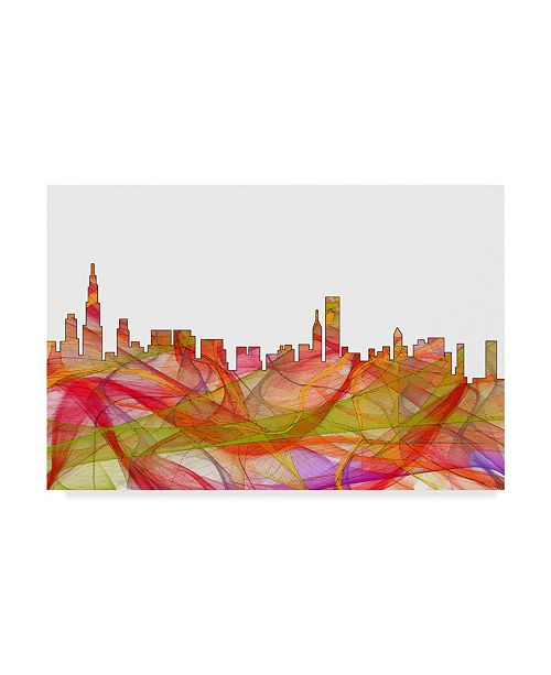 "Trademark Global Marlene Watson 'Chicago Illinois Skyline' Canvas Art - 22"" x 32"""