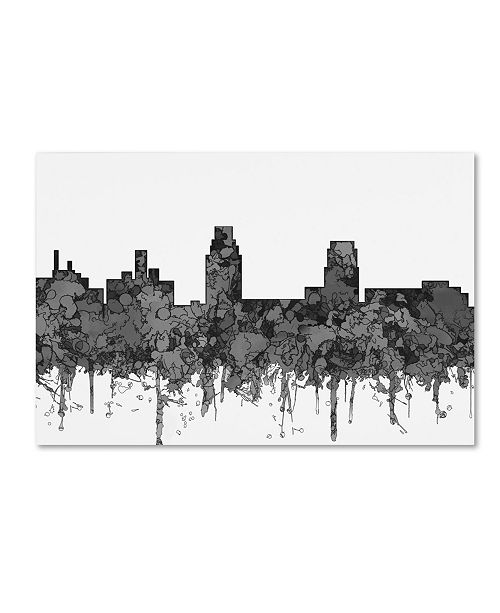 "Trademark Global Marlene Watson 'Camden New Jersey Skyline BW' Canvas Art - 22"" x 32"""