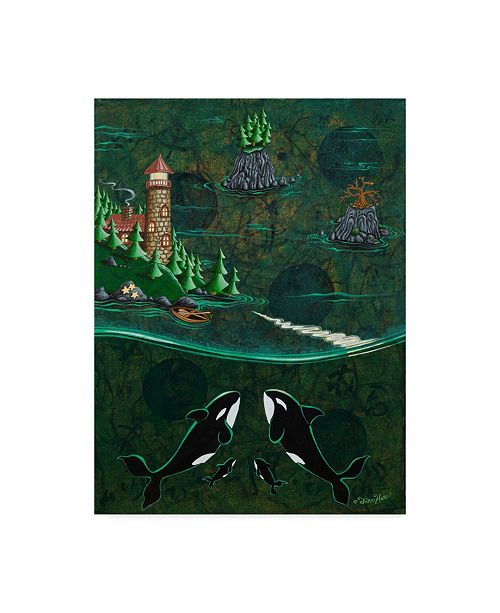 "Trademark Global Jake Hose 'Orcas And Lighthouse' Canvas Art - 35"" x 47"""