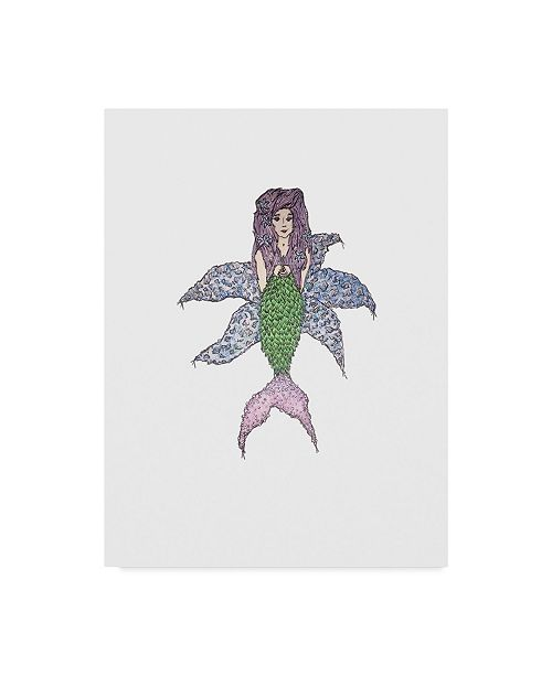 "Trademark Global Jessmessin 'Mermaid On Starfish' Canvas Art - 35"" x 47"""