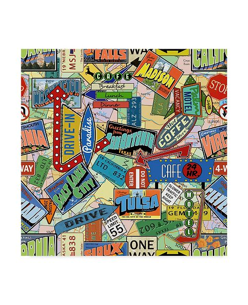 "Trademark Global Jean Plout 'Vintage Travel' Canvas Art - 35"" x 35"""