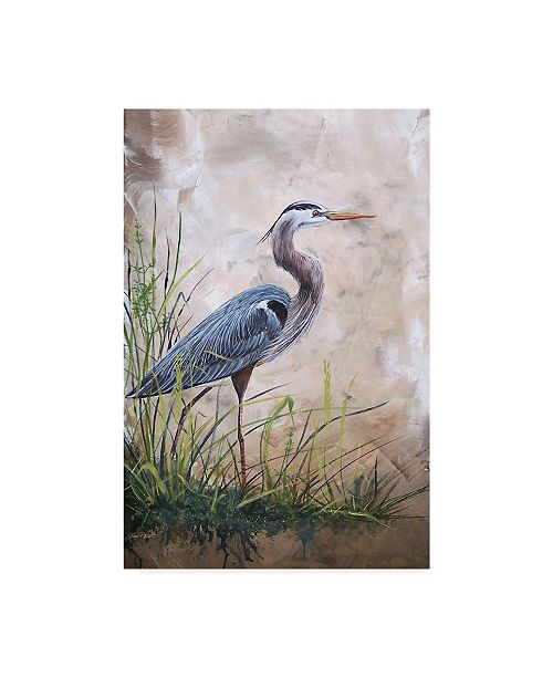 "Trademark Global Jean Plout 'Heron In The Reeds' Canvas Art - 22"" x 32"""