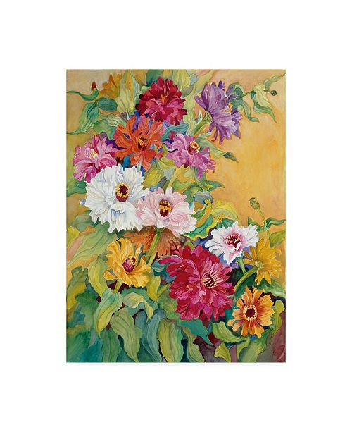 "Trademark Global Joanne Porter 'Mardi Gras Zinnias' Canvas Art - 35"" x 47"""