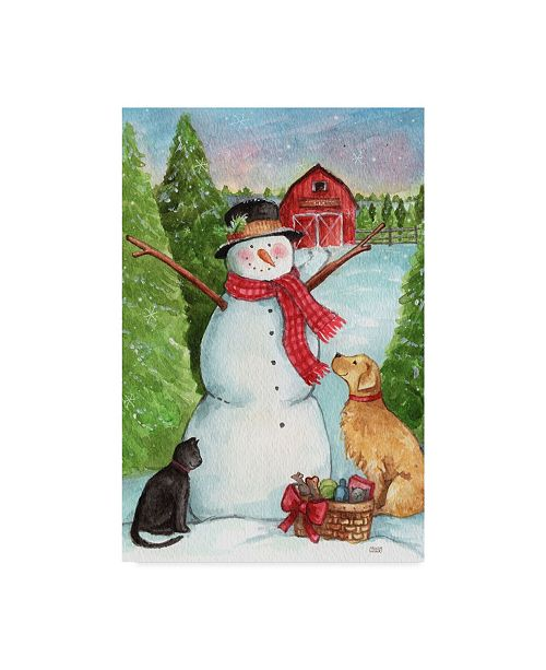 "Trademark Global Melinda Hipsher 'Snowman Farm With Dog And Cat' Canvas Art - 30"" x 47"""