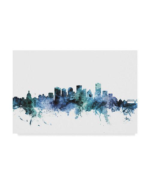 "Trademark Global Michael Tompsett 'Edmonton Canada Blue Teal Skyline' Canvas Art - 47"" x 30"""