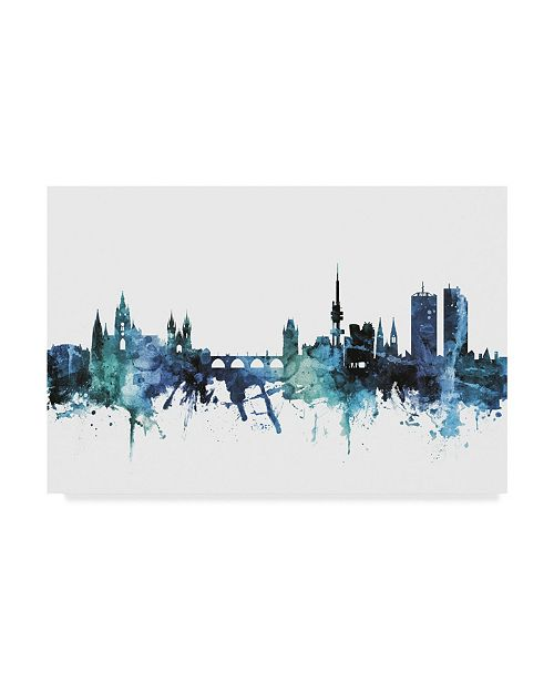 "Trademark Global Michael Tompsett 'Prague Czech Republic Blue Teal Skyline' Canvas Art - 24"" x 16"""