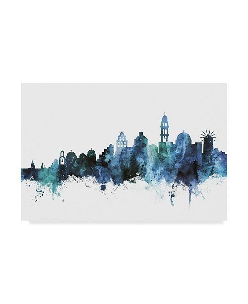 "Trademark Global Michael Tompsett 'Santorini Blue Teal Skyline' Canvas Art - 24"" x 16"""