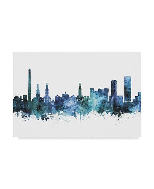 "Trademark Global Michael Tompsett 'Erlangen Germany Blue Teal Skyline' Canvas Art - 32"" x 22"""