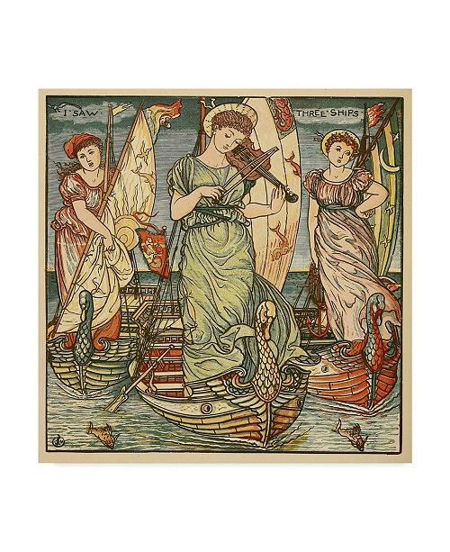 "Trademark Global Walter Crane 'I Saw Three Ships, Pub. 1889' Canvas Art - 24"" x 24"""