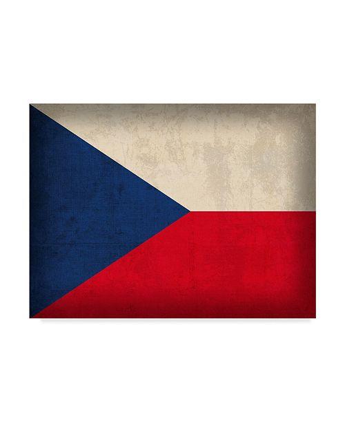 "Trademark Global Red Atlas Designs 'Czech Republic Distressed Flag' Canvas Art - 24"" x 18"""