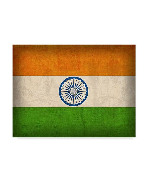"""Trademark Global Red Atlas Designs 'India Distressed Flag' Canvas Art - 24"""" x 18"""""""