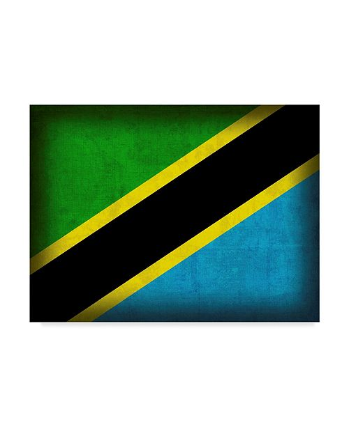 "Trademark Global Red Atlas Designs 'Tanzania Distressed Flag' Canvas Art - 47"" x 35"""