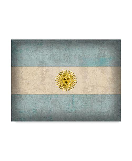 "Trademark Global Red Atlas Designs 'Argentina Distressed Flag' Canvas Art - 47"" x 35"""