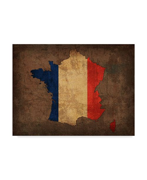 """Trademark Global Red Atlas Designs 'France Country Flag Map' Canvas Art - 32"""" x 24"""""""