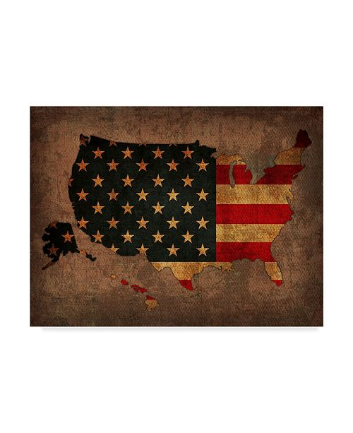 "Trademark Global Red Atlas Designs 'USA Country Flag Map' Canvas Art - 24"" x 18"""