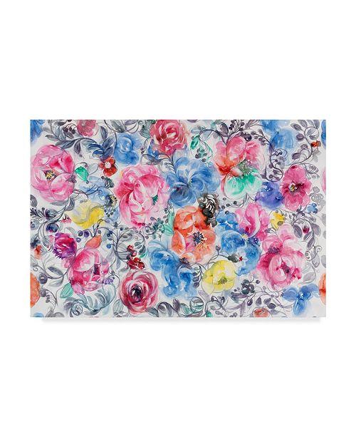 "Trademark Global Li Bo 'Festive Flower Patterns 6' Canvas Art - 32"" x 22"""