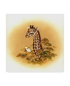 "Peggy Harris 'Giraffe Baby' Canvas Art - 35"" x 35"""