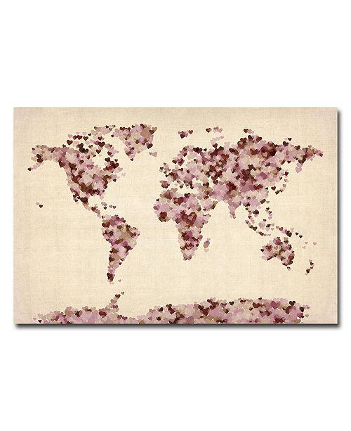"Trademark Global Michael Tompsett 'Vintage Hearts World Map' Canvas Art - 32"" x 22"""