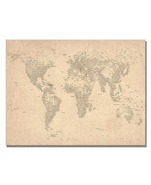 """Trademark Global Michael Tompsett 'World Map of Cities' Canvas Art - 24"""" x 18"""""""