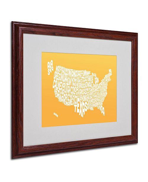 """Trademark Global Michael Tompsett 'SUNSET-USA States Text Map' Matted Framed Art - 20"""" x 16"""""""
