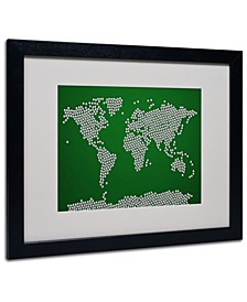 "Michael Tompsett 'Soccer Balls World Map' Matted Framed Art - 20"" x 16"""