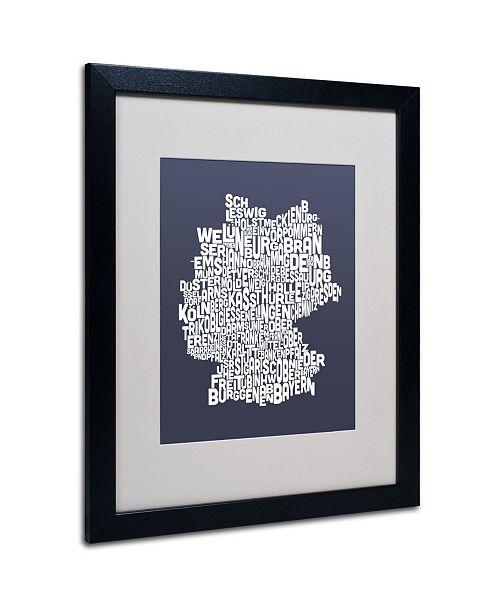 """Trademark Global Michael Tompsett 'SLATE-Germany Regions Map' Matted Framed Art - 20"""" x 16"""""""