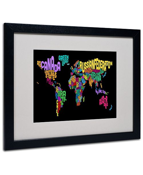"Trademark Global Michael Tompsett 'World Text Map 4' Matted Framed Art - 20"" x 16"""