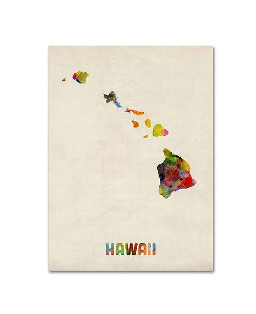 """Trademark Global Michael Tompsett 'Hawaii Map' Canvas Art - 24"""" x 18"""""""
