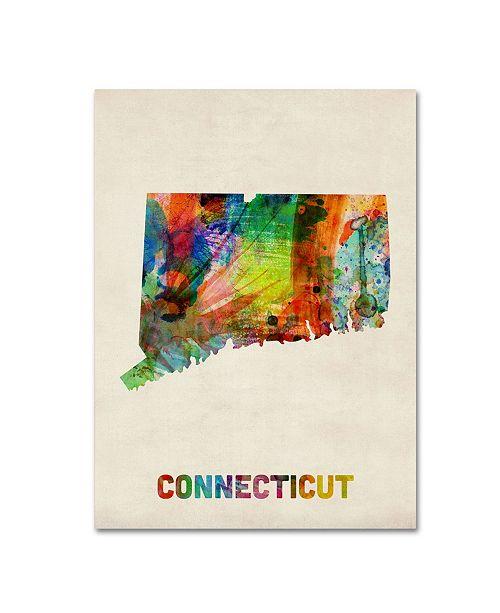 """Trademark Global Michael Tompsett 'Connecticut Map' Canvas Art - 47"""" x 35"""""""