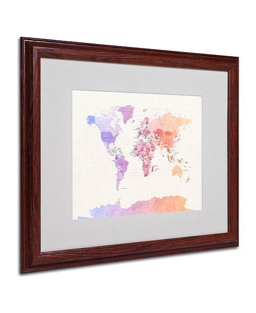 "Trademark Global Michael Tompsett 'Poltical Watercolor Map' Matted Framed Art - 20"" x 16"""