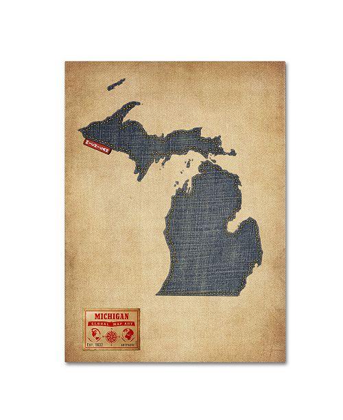 "Trademark Global Michael Tompsett 'Michigan Map Denim Jeans Style' Canvas Art - 32"" x 24"""