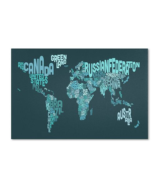 "Trademark Global Michael Tompsett 'Text Map of the World II' Canvas Art - 32"" x 22"""