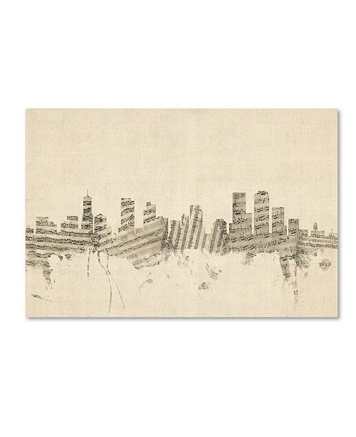 "Trademark Global Michael Tompsett 'Denver Colorado Skyline Sheet Music' Canvas Art - 30"" x 47"""