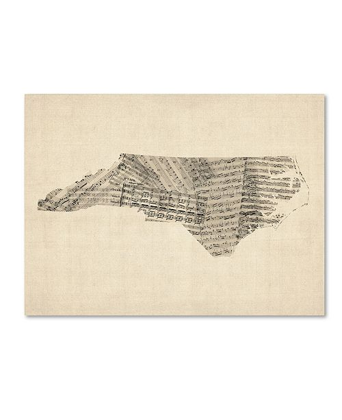 "Trademark Global Michael Tompsett 'Old Sheet Music Map of North Carolina' Canvas Art - 35"" x 47"""