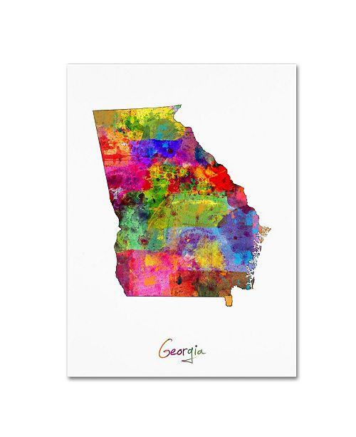 "Trademark Global Michael Tompsett 'Georgia Map' Canvas Art - 24"" x 32"""