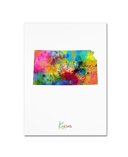 """Trademark Global Michael Tompsett 'Kansas Map' Canvas Art - 35"""" x 47"""""""