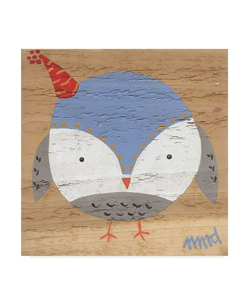 "Trademark Global Nicole Dietz 'Owl Blue' Canvas Art - 14"" x 14"""