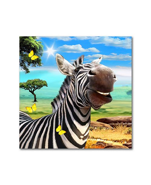 "Trademark Global Howard Robinson 'Smiling Zebra' Metal Art - 16"" x 16"""