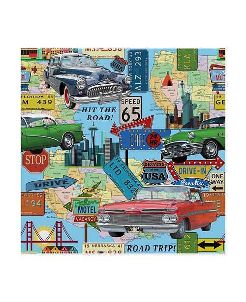 "Trademark Global Jean Plout 'Blue Map' Canvas Art - 14"" x 14"""
