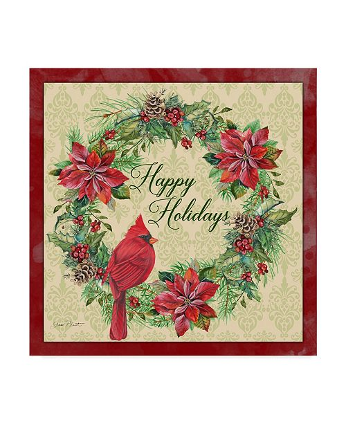 "Trademark Global Jean Plout 'Happy Holidays Wreath' Canvas Art - 14"" x 14"""