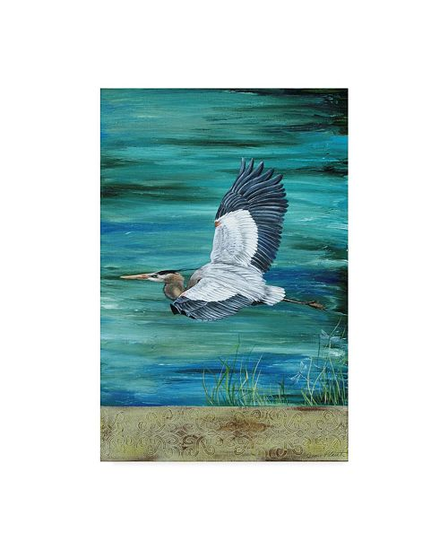 """Trademark Global Jean Plout 'Great Blue Heron Flying' Canvas Art - 12"""" x 19"""""""