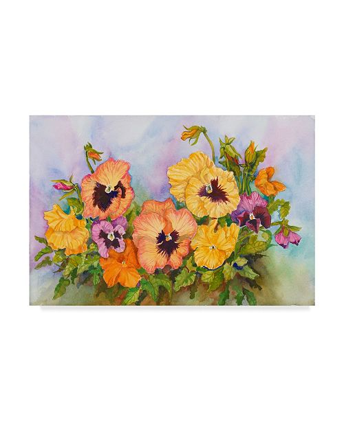 "Trademark Global Joanne Porter 'Pansies In A Blue Sky' Canvas Art - 12"" x 19"""