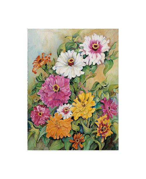 "Trademark Global Joanne Porter 'Variegated Zinnias Colorful' Canvas Art - 14"" x 19"""