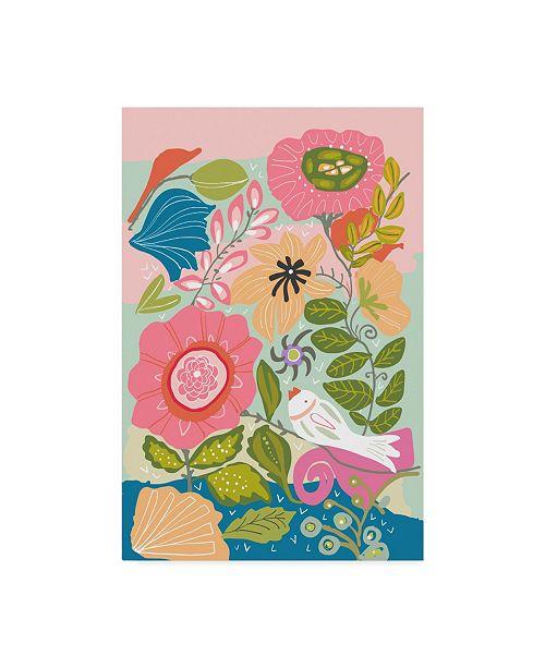 """Trademark Global Karen Fields 'Bird In Flower Patch' Canvas Art - 12"""" x 19"""""""