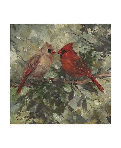 "Trademark Global Mary Miller Veazie 'Kissing Cardinals' Canvas Art - 14"" x 14"""